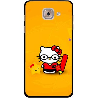 Snooky Printed Kitty Study Mobile Back Cover For Samsung Galaxy J7 Max - Orange