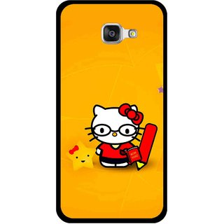 Snooky Printed Kitty Study Mobile Back Cover For Samsung Galaxy A3 (2016) - Orange