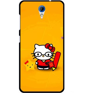 Snooky Printed Kitty Study Mobile Back Cover For HTC Desire 620 - Orange