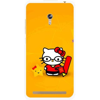 Snooky Printed Kitty Study Mobile Back Cover For Asus Zenfone 6 - Orange