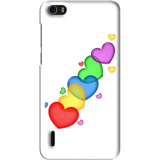 Snooky Printed Colorfull Hearts Mobile Back Cover For Huawei Honor 6 - Multi