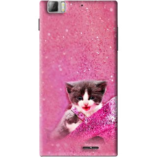 Snooky Printed Pink Cat Mobile Back Cover For Lenovo K900 - Multi