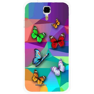 Snooky Printed Trendy Buterfly Mobile Back Cover For Micromax Canvas Juice A177 - Multicolour