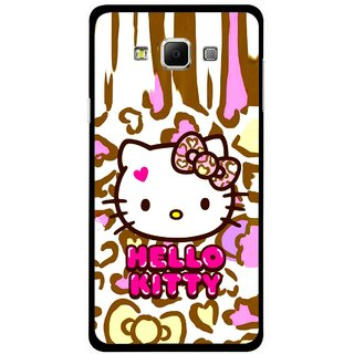 Snooky Printed Cute Kitty Mobile Back Cover For Samsung Galaxy E7 - Multicolour