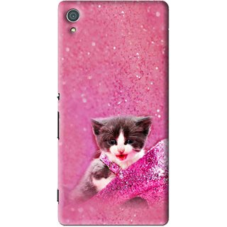 Snooky Printed Pink Cat Mobile Back Cover For Sony Xperia Z4 - Multi