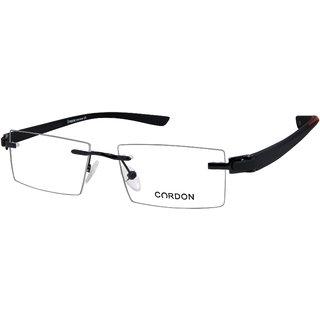 Cardon Black Rimless Rectangular Unisex Spectacle Frame