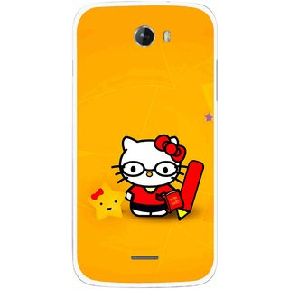 Snooky Printed Kitty Study Mobile Back Cover For Micromax Bolt A068 - Multicolour