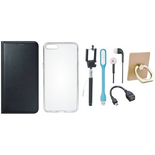 Oppo A37F Flip Cover with Ring Stand Holder, Silicon Back Cover, Selfie Stick, Earphones, OTG Cable and USB LED Light