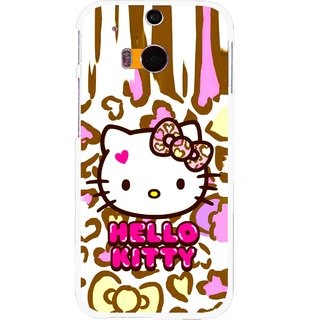 Snooky Printed Cute Kitty Mobile Back Cover For HTC One M8 - Multicolour