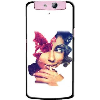 Snooky Printed Vintage Girl Mobile Back Cover For Oppo N1 - Multicolour