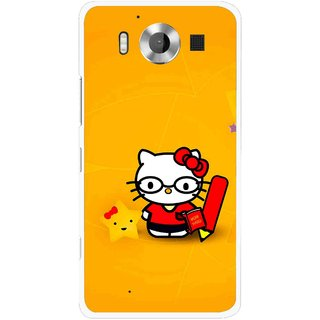 Snooky Printed Kitty Study Mobile Back Cover For Microsoft Lumia 950 - Multicolour