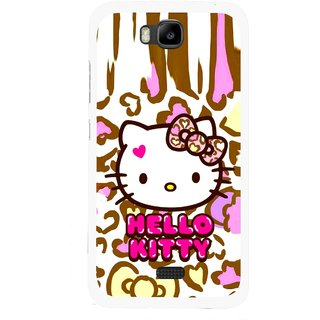 Snooky Printed Cute Kitty Mobile Back Cover For Huawei Honor Bee - Multicolour