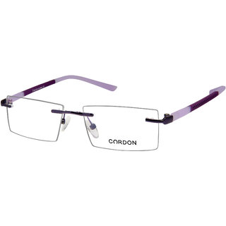Cardon Purple Rimless Rectangular Unisex Spectacle Frame