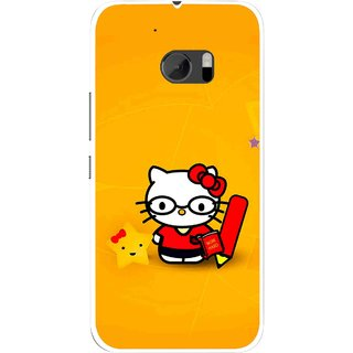 Snooky Printed Kitty Study Mobile Back Cover For HTC One M10 - Multicolour