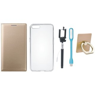 Motorola Moto E4 Plus Premium Leather Cover with Ring Stand Holder, Silicon Back Cover, Selfie Stick and USB LED Light