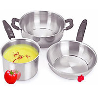 Peach 3pcs Stainless Steel Induction Friendly Cookware Set
