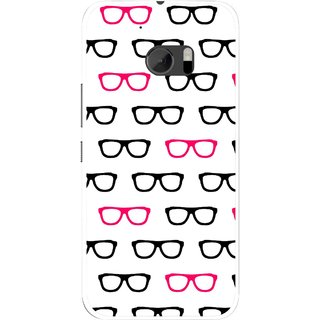 Snooky Printed Spectacles Mobile Back Cover For HTC One M10 - Multicolour