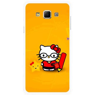 Snooky Printed Kitty Study Mobile Back Cover For Samsung Galaxy E7 - Multicolour