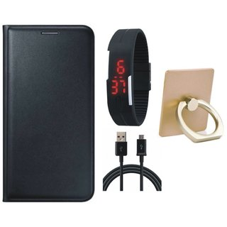 Oppo A37F Flip Cover with Ring Stand Holder, Digital Watch and USB Cable