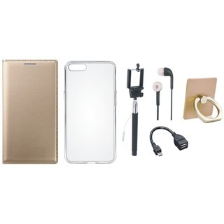 Motorola Moto E4 Plus Leather Flip Cover with with Ring Stand Holder, Silicon Back Cover, Selfie Stick, Earphones and OTG Cable