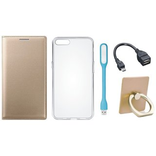 Samsung J7 Max ( SM-G615F ) Flip Cover with Ring Stand Holder, Silicon Back Cover, USB LED Light and OTG Cable