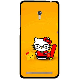 Snooky Printed Kitty Study Mobile Back Cover For Asus Zenfone 6 - Multicolour