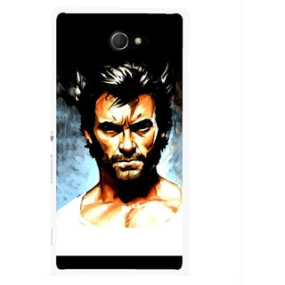 Snooky Printed Angry Man Mobile Back Cover For Sony Xperia M2 - Multicolour