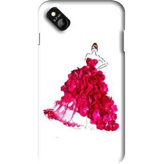 Snooky Printed Rose Girl Mobile Back Cover For Micromax Bolt D303 - Multi