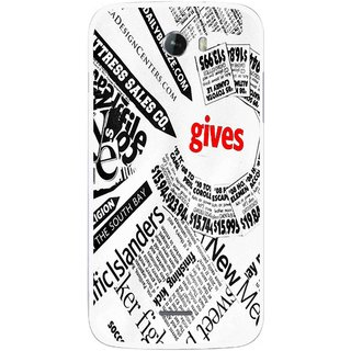 Snooky Printed Newspaper Mobile Back Cover For Micromax Bolt A068 - Multicolour