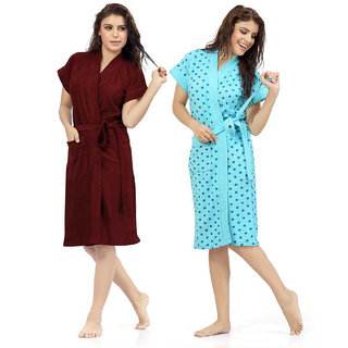 Be You Terry Cotton Maroon-Blue Women Bathrobes Combo Pack of 2