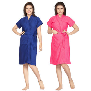 09147f3027 Buy Be You Terry Cotton Blue-Pink Women Bathrobes Combo Pack of 2 ...
