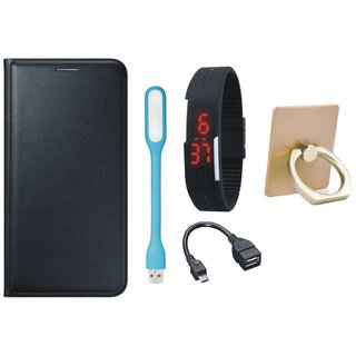 Oppo A37F Premium Leather Cover with Ring Stand Holder, Digital Watch, OTG Cable and USB LED Light