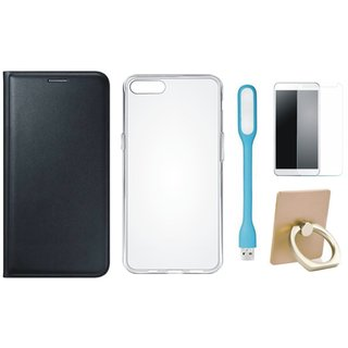 Samsung J7 Prime (  SM-G610F ) Leather Cover with Ring Stand Holder, Silicon Back Cover, Tempered Glas and USB LED Light