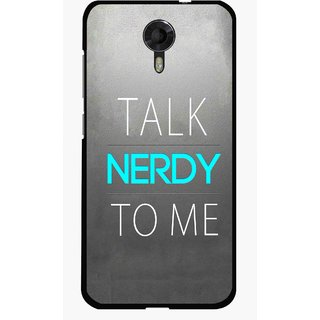 Snooky Printed Talk Nerdy Mobile Back Cover For Micromax Canvas Xpress 2 E313 - Grey