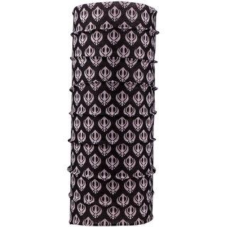 Autofy Unisex Khanda Print Lycra Headwrap Bandana for Bikes (Black and White, Freesize)