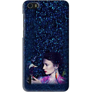 Snooky Printed Blue Lady Mobile Back Cover For Huawei Honor 6 - Multi