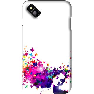 Snooky Printed Flowery Girl Mobile Back Cover For Micromax Bolt D303 - Multi