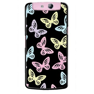 Snooky Printed Butterfly Mobile Back Cover For Oppo N1 - Multicolour