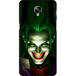 Snooky Printed Loughing Joker Mobile Back Cover For OnePlus 3 - Green