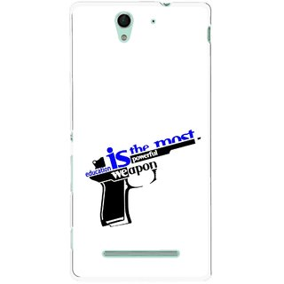 Snooky Printed Be Educated Mobile Back Cover For Sony Xperia C3 - Multicolour