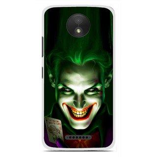 Snooky Printed Loughing Joker Mobile Back Cover For Motorola Moto C Plus - Green