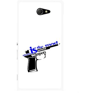 Snooky Printed Be Educated Mobile Back Cover For Sony Xperia M2 - Multicolour