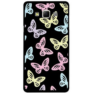 Snooky Printed Butterfly Mobile Back Cover For Samsung Galaxy E7 - Multicolour