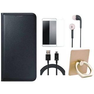 Samsung J7 Prime (  SM-G610F ) Premium Leather Cover with Ring Stand Holder, Earphones, Tempered Glass and USB Cable