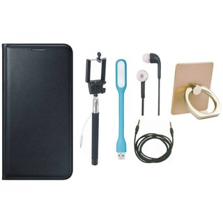 Motorola Moto C Premium Leather Cover with Ring Stand Holder, Selfie Stick, Earphones, USB LED Light and AUX Cable