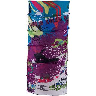 Autofy Unisex Printed Lycra Headwrap Bandana for Bikes (Purple and White, Freesize)