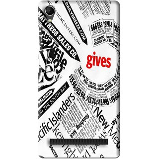Snooky Printed Newspaper Mobile Back Cover For Intex Aqua Power Plus - Multi