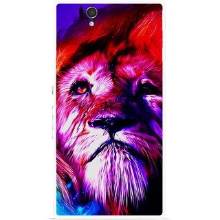 Snooky Printed Freaky Lion Mobile Back Cover For Sony Xperia Z - Multicolour