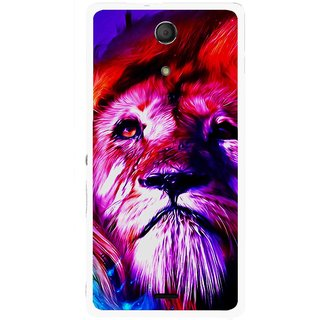 Snooky Printed Freaky Lion Mobile Back Cover For Sony Xperia ZR - Multicolour