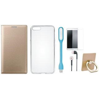 Oppo A37F Leather Cover with Ring Stand Holder, Silicon Back Cover, Tempered Glass, Earphones and USB LED Light